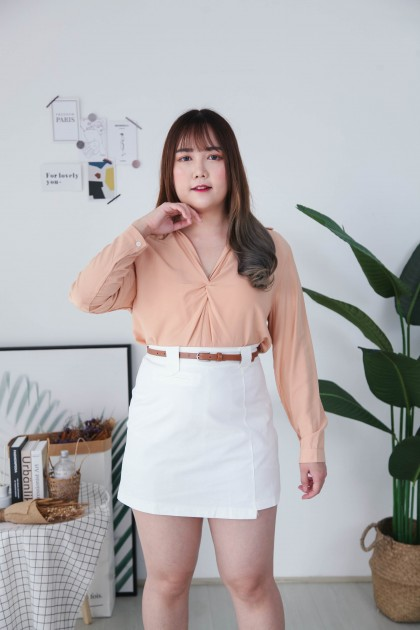 Korea Basic Fake Pocket High Waist A Line Skirt With Belt (White)