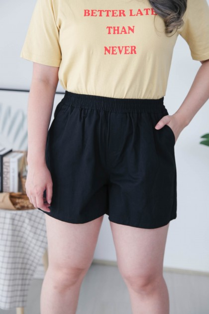 Korea Basic Rubber High Waist Wide Leng Short Pant (Black)