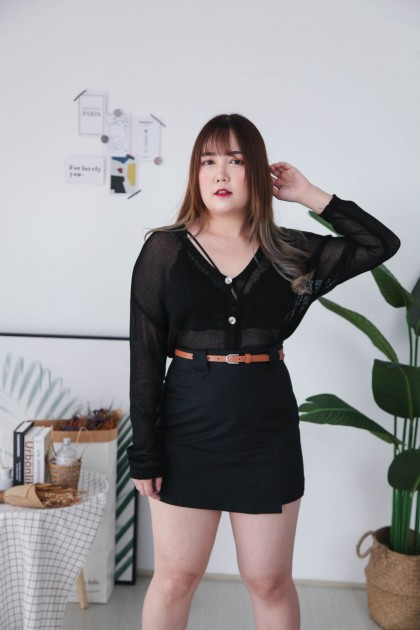 Korea Hollow Button Front Long Sleeve Knit Top & Outer (Black)
