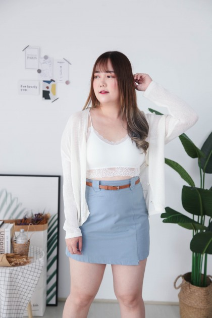 Korea Hollow Button Front Long Sleeve Knit Top & Outer (White)