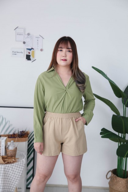 Korea Basic V Neck Collar Oversize Long Sleeve Blouse (Green)