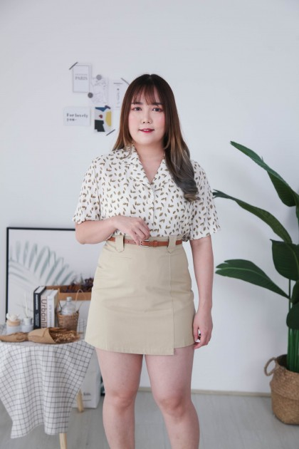 Korea Cute Leaf V Collar Button Front Short Sleeve Blouse (Green)