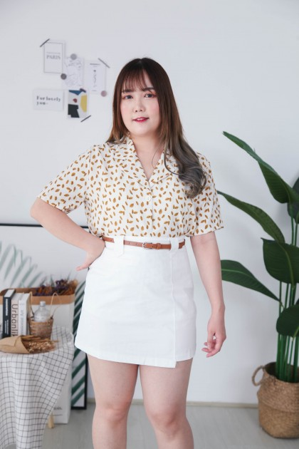Korea Cute Leaf V Collar Button Front Short Sleeve Blouse (Mustard)