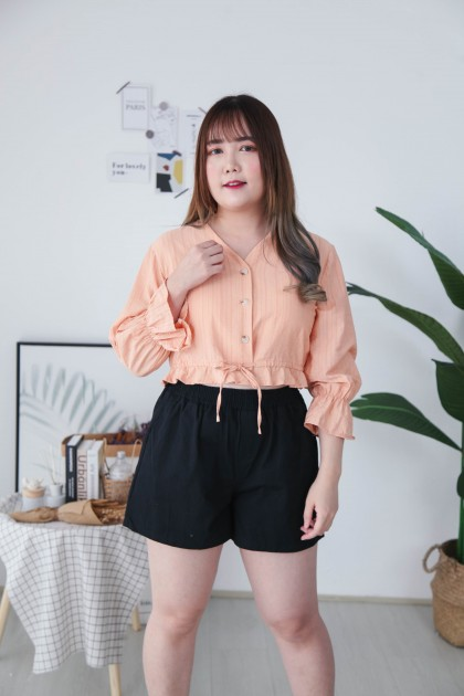 Korea V Neck Marble Button Front Self Tie Ribbon Waist Top (Orange)