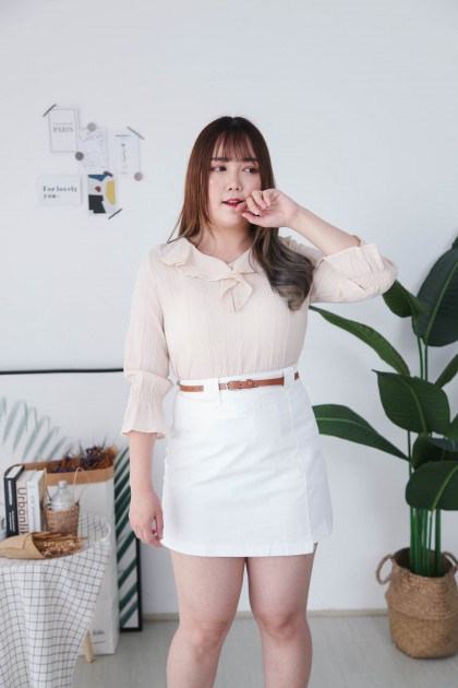 Korea Fluted Collar Long Sleeve Blouse (Beige)