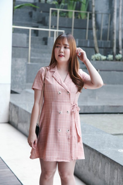 Korea Checks V Collar Double Button Self Tie Ribbon Waist Short Sleeve Dress (Pink)