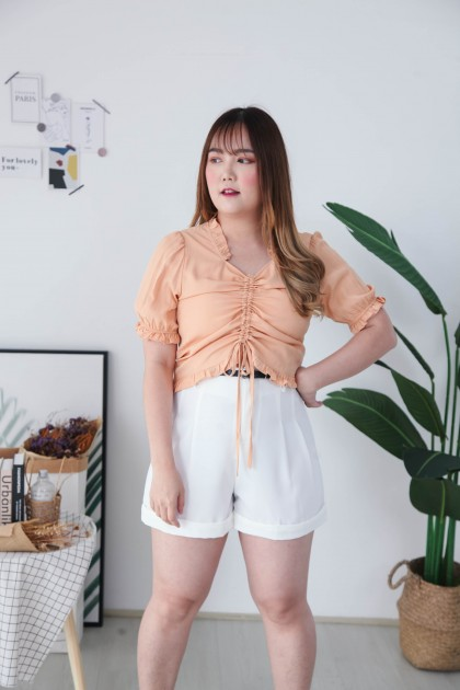 Korea -5kg Basic High Waist Wide Leg Short Pant With Belt (White)