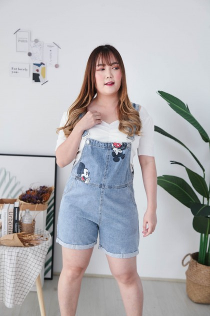 Korea Mickey Worker Style Short Pant Overall (Blue)