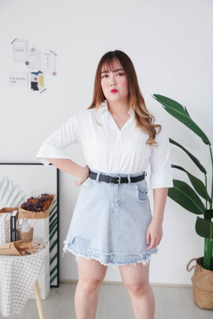 Korea Stripe V Neck Collar Oversize Short Sleeve Blouse (White)