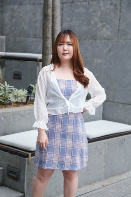 Korea Self Tie Chiffon Outer (White)