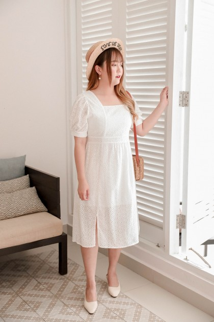 Korea Eyelet Square Neck Ribbon Back Short Sleeve Splited Midi Dress (White) - BACKORDER ETA 24 MAR