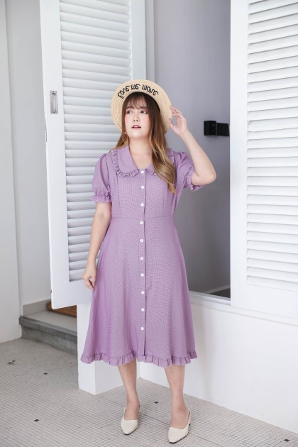 Korea Small Checks Lotus Leaf Collar Button Front Short Sleeve Midi Dress (Purple)
