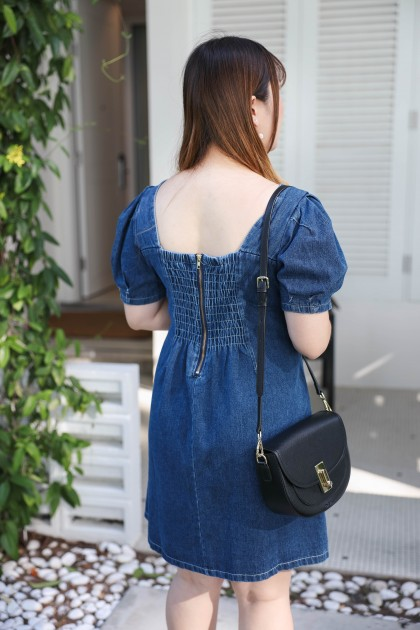 Korea Button Front Short Sleeve Denim Dress (Blue)