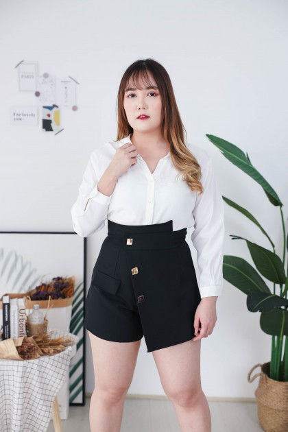 Korea Button Front High Waist Splited Skort (Black)