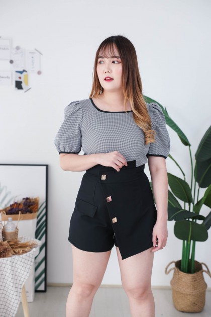 Korea Basic Checks Short Sleeve Top (Black)