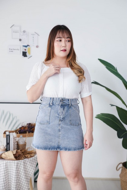Korea Wrinkle Style Square Neck Button Front Short Sleeve Top (White)
