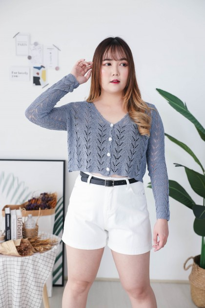Korea V Neck Triangle Button Front Long Sleeve Knit Top (Blue)