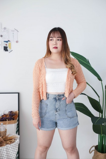 Korea V Neck Triangle Button Front Long Sleeve Knit Top (Orange Brown)
