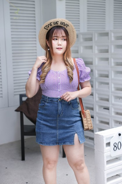 Korea Elastic Splited High Waist Denim Skort (Blue)