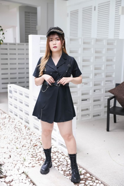 Korea 暗黑风 Punk Style V Collar Double Button Splited Short Sleeve Dress With Belt (Black)