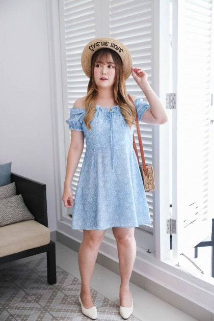 Korea Flora Ribbon Front Elastic Rubber Back Short Sleeve Dress (Blue) - BACKORDER ETA 24 MAR