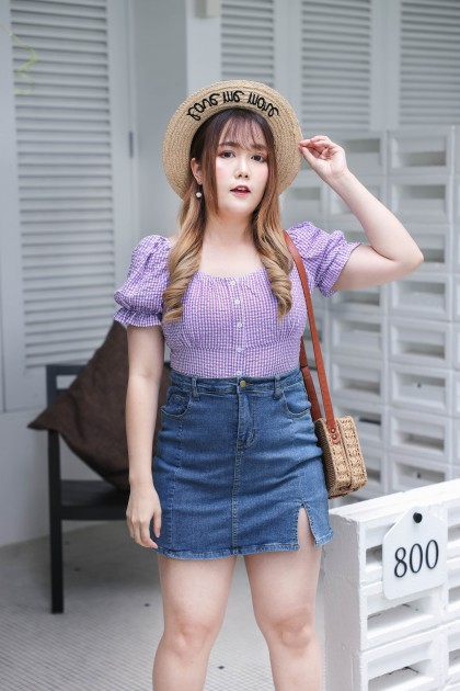 Korea Checks Button Front Elastic Rubber Back Short Sleeve Top (Purple)