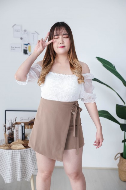 Korea Elastic Rubber Polka Dot  Mess Short Sleeve Off Shoulder Top (White) - BACKORDER ETA 01 DEC