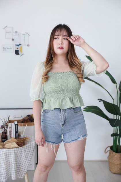 Korea Elastic Rubber Polka Dot  Mess Short Sleeve Off Shoulder Top (Green) - BACKORDER ETA 01 DEC