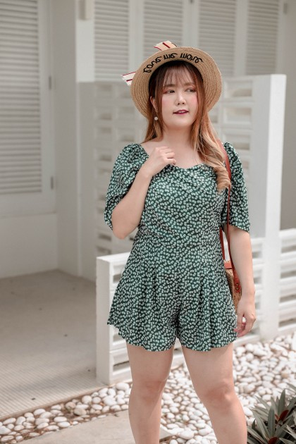 Korea Flora V Neck Short Sleeve Jumpsuit (Green)