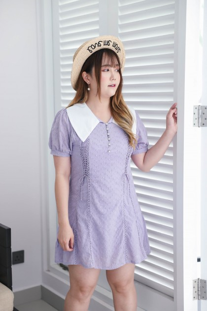 Korea Double Lace Up V Collar Button Front Eyelet Short Sleeve Dress (Purple)