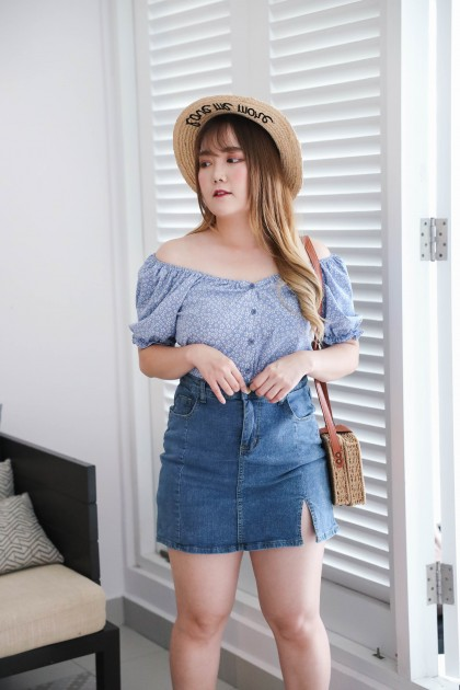 Korea Daisy Flower Button Front Elastic Rubber Back Short Sleeve Top (Blue) - BACKORDER ETA 08 DEC