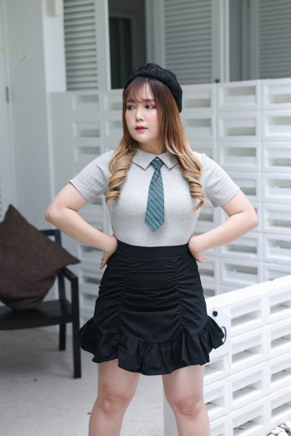 Korea Student Style Knit Top With Tie (Grey)