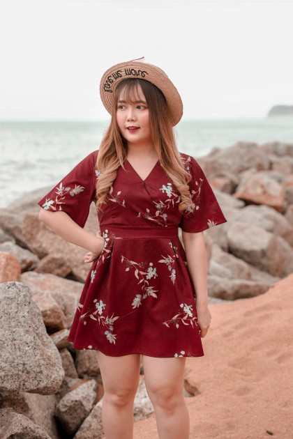 Korea Flora V Neck Self Tie Ribbon Waist Jumpsuit (Maroon)