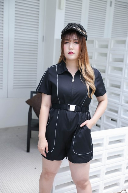 Korea Reflective Worker Style Short Sleeve Jumpsuit With Belt (Black)