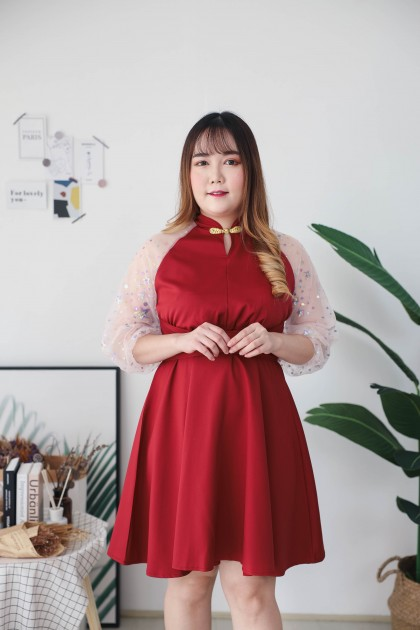 Korea Cheongsam Style Self Tie Waist Bling Sleeve Dress (Maroon)