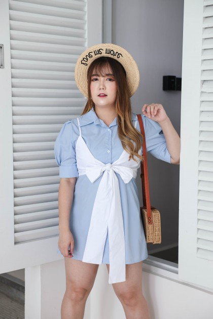 Korea Ribbon Front Sleeveless Top + Short Sleeve Long Blouse Dress [Set] (Blue)