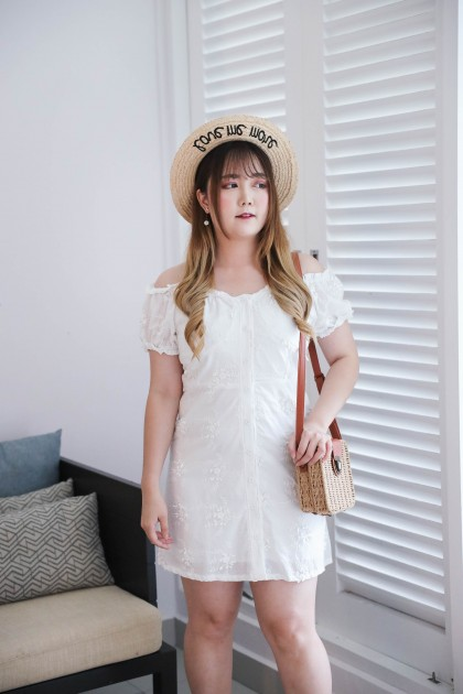 Korea 3D Flora Button Front Elastic Rubber Shoulder Short Sleeve Dress (White)