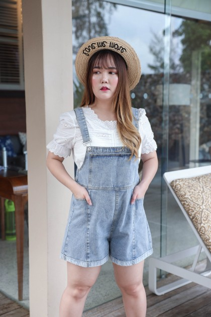 Korea Basic Overall Plus Size Short Pant (Blue)