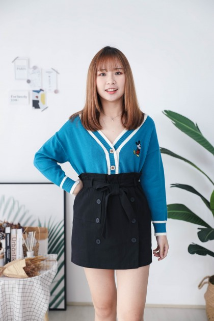 Korea Mickey V Neck Button Front Long Sleeve Knit Outer (BLUE)