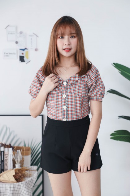 Korea Checks Button Front Elastic Rubber Back Short Sleeve Top (Red)