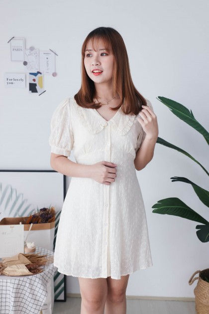 Korea Eyelet Lace V Collar Button Front Short Sleeve Dress (Beige)
