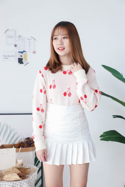 Korea Cherry Long Sleeve Knit Top (Red)