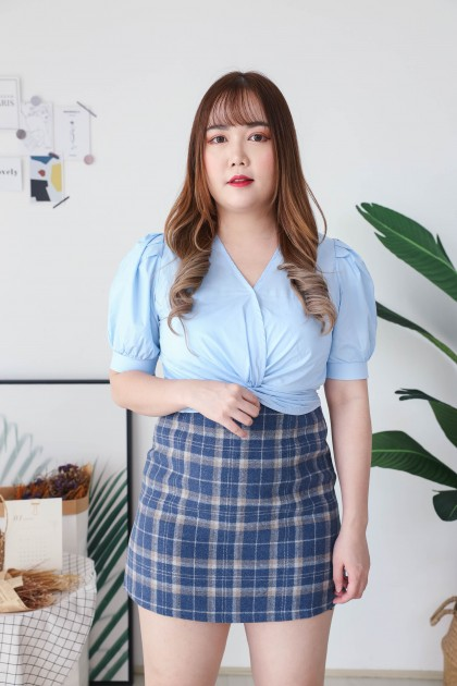 Korea Basic Checks A Line High Waist Skirt (Blue)