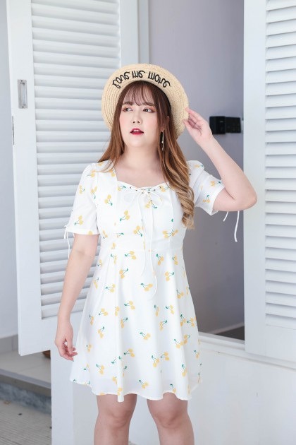Korea Cherry Lace Up Front & Ribbon Short Sleeve Dress (Yellow)