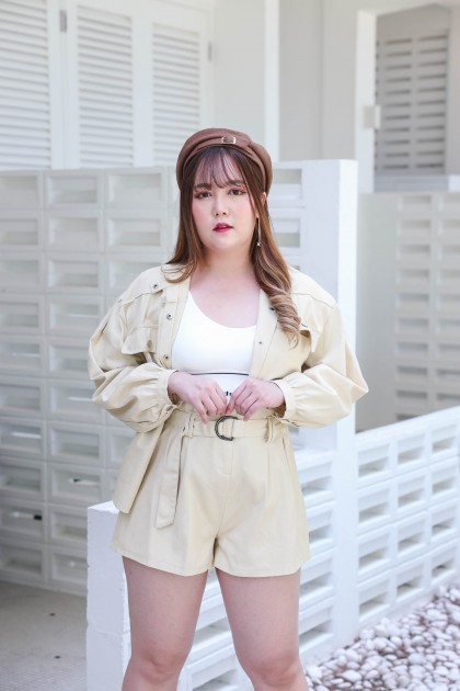 Korea Button Front Long Sleeve Denim Blouse (Khaki)