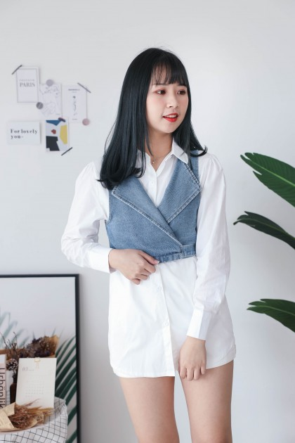 Korea Basic Long Blouse + Denim Sleeveless Vest [Set] (White)