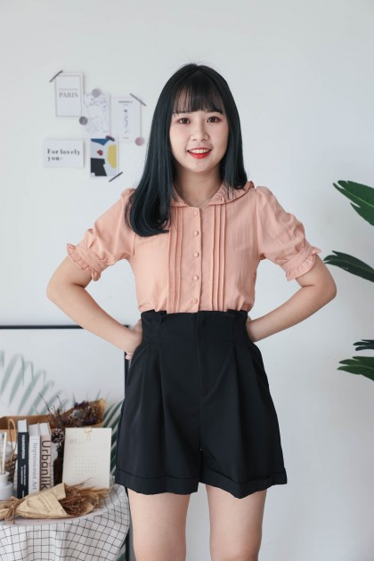 Korea Button Front Lotus Leaf Style Short Sleeve Top (Brown)