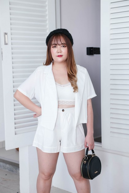 Korea -5kg Basic Elastic Rubber High Waist Short Pant (White)