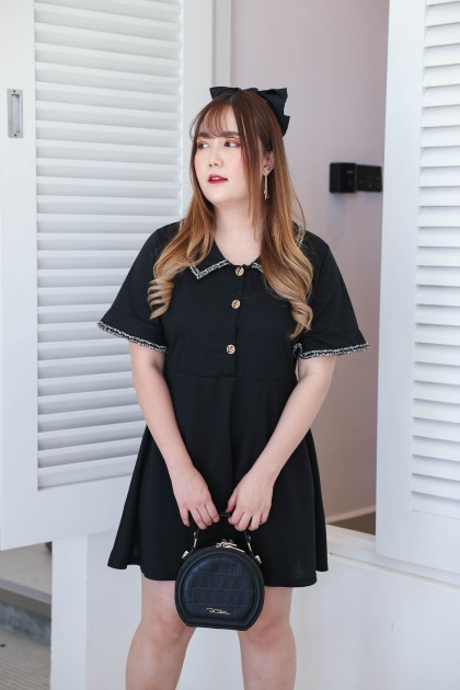 Korea Chanel Style V Collar Short Sleeve Dress (Black) - BACKORDER ETA 27 APR