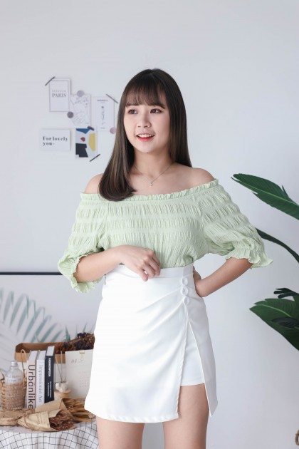 Korea Basic Wrinkle Off Shoulder Oversize Top (Green)